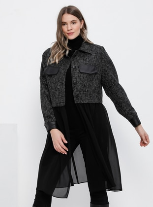 Black - Point Collar - Fully Lined - Acrylic - Plus Size Jacket - Alia