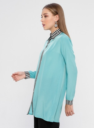 Mint - Stripe - Point Collar - Viscose - Blouses