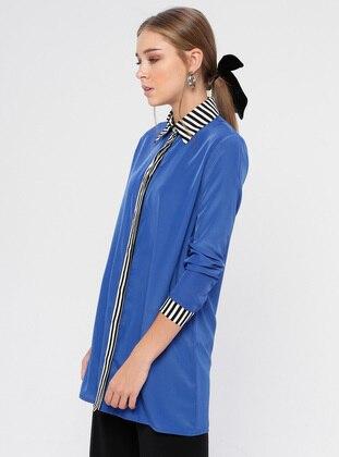 Saxe - Stripe - Point Collar - Viscose - Blouses