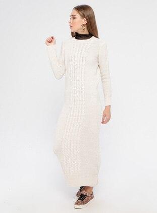 Beige - Crew neck - Unlined - Acrylic -  - Dress