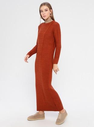 Tan - Crew neck - Unlined - Acrylic -  - Dress