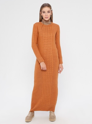 Orange - Crew neck - Unlined - Acrylic -  - Dress