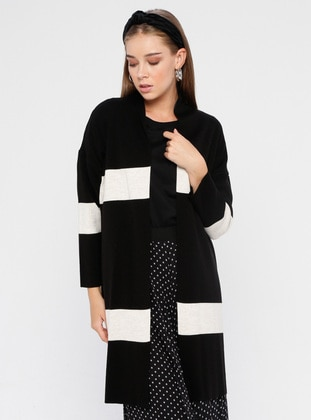 Black - Stripe - Acrylic -  - Cardigan