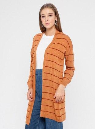 Orange - Stripe - Acrylic -  - Cardigan