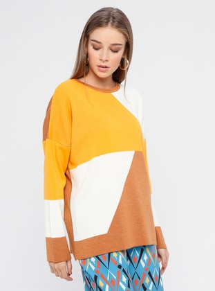 Yellow - Tan - Crew neck - Acrylic -  - Jumper