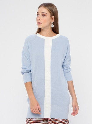 Ecru - Blue - Crew neck - Acrylic -  - Tunic