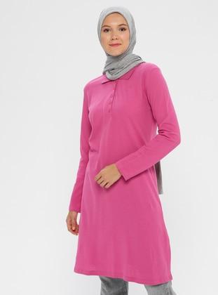Fuchsia - Pink - Point Collar -  - Tunic