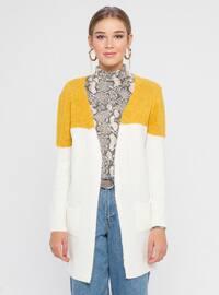Ecru - Mustard - Shawl Collar - Acrylic -  - Cardigan
