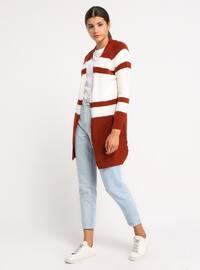 Ecru - Terra Cotta - Shawl Collar - Acrylic -  - Cardigan