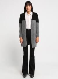 Gray - Black - Shawl Collar - Acrylic -  - Cardigan