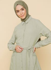 Haki - Fransız Yaka - Astarsız - Viskon - Elbise