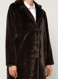 Brown - Fully Lined - Plus Size Overcoat