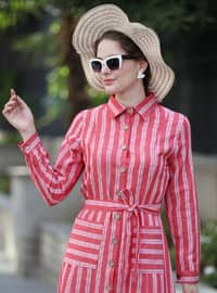 Red - Stripe - Point Collar - Unlined -  - Dress