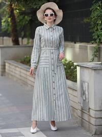 Green - Stripe - Point Collar - Unlined -  - Dress