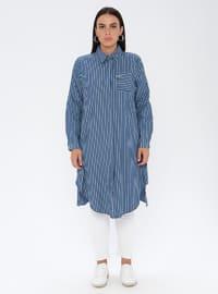 Navy Blue - Stripe - Point Collar - Denim -  - Plus Size Tunic