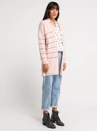 Gray - Powder - Stripe - Shawl Collar - Acrylic -  - Cardigan