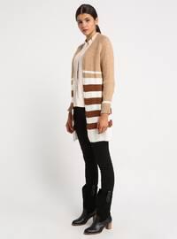Camel - Ecru - Brown - Stripe - Shawl Collar - Acrylic -  - Cardigan