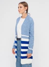 Ecru - Blue - Saxe - Stripe - Shawl Collar - Acrylic -  - Cardigan