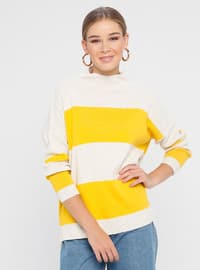 Beige - Mustard - Stripe - Polo neck - Acrylic - Jumper
