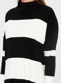 Ecru - Black - Stripe - Polo neck - Acrylic - Jumper