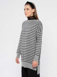Gray - Black - Stripe - Boat neck - Acrylic -  - Tunic