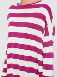 Ecru - Lilac - Pink - Stripe - Crew neck - Acrylic -  - Tunic