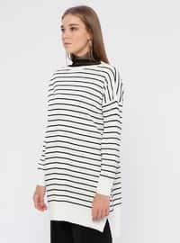 Ecru - Black - Stripe - Boat neck - Acrylic -  - Tunic