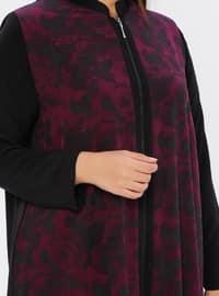 Plum - Black - Floral - Unlined - Plus Size Abaya