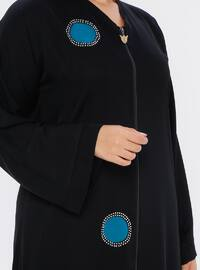 Black - Floral - Unlined - Plus Size Abaya