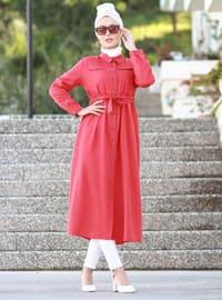 Kırmızı - Polo Yaka - Astarsız Kumaş - Akrilik - Elbise