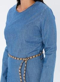 Blue - Unlined - Crew neck - Denim -  - Plus Size Dress