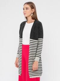 Anthracite - Gray - Stripe - Shawl Collar - Acrylic -  - Cardigan
