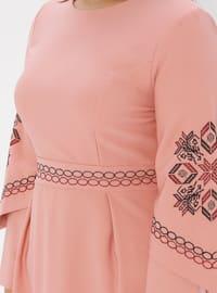 Pink - Unlined - Crew neck - Plus Size Dress
