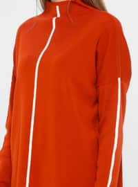 Ecru - Terra Cotta - Polo neck - Acrylic - Jumper