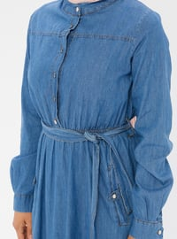 Blue - Button Collar - Unlined - Denim -  - Dress