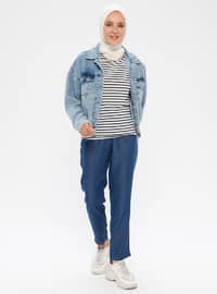 Navy Blue - Denim -  Lyocell -  - Pants