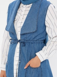 Blue - Unlined - Shawl Collar - Denim -  - Vest