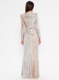 Beige - V neck Collar - Fully Lined - Dress