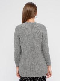 Gray - Shawl Collar - Acrylic -  - Cardigan