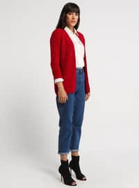 Red - Shawl Collar - Acrylic -  - Cardigan