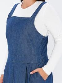 Navy Blue - Unlined - Sweatheart Neckline - Denim -  - Plus Size Dress