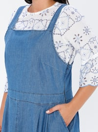 Blue - Unlined - Sweatheart Neckline - Denim -  - Plus Size Dress
