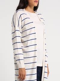 Beige - Stripe - Acrylic -  - Cardigan