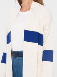 White - Ecru - Stripe - Acrylic -  - Cardigan