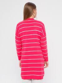 Fuchsia - Pink - Stripe - Acrylic -  - Cardigan