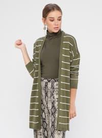 Khaki - Stripe - Acrylic -  - Cardigan