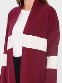 Plum - Stripe - Acrylic -  - Cardigan