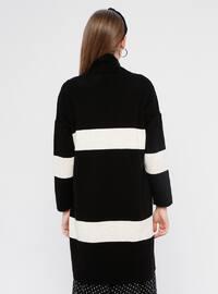 Black - Stripe - Acrylic -  - Cardigan