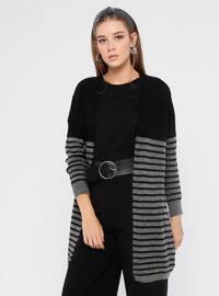 Gray - Black - Stripe - Acrylic -  - Cardigan