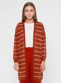 Tan - Stripe - Acrylic -  - Cardigan